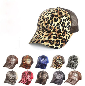 Leopard Pferdeschwanzkappe Frauen Mesh Back Masy Baseball Hut Vintage Einstellbare Snapback Trucker Party Hats Da882