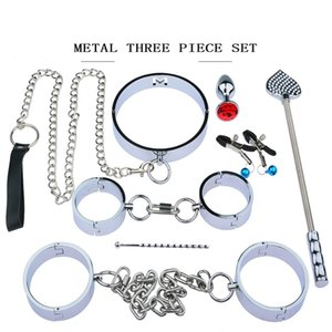 Heavy Stainless Steel Bondage Set With Handcuffs Neck Collar Whip Spank For Bdsm Restraint Slave Role Play Adults Games,Sex Toys Y200616