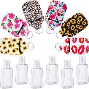 Personalizza neoprene Hand Sanitizer Bottle Holder del sacchetto di Keychain 30ML Stampato Sapone Bottle Holder Portachiavi