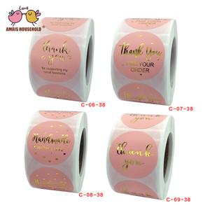500pcs / Roll 3,8 centimetri / 1.5inch Rosa Grazie per il vostro ordine impressioni in oro Adesivi di lusso sui prodotti Business Confezione regalo