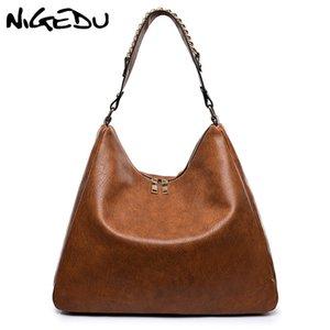 NIGEDU роскошные сумки женщин Hobos дизайн сумки цепи женские сумки на ремне большой емкости мягкие кожаные Ladies большой Тотализаторов Черный Bao