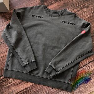 Kalın 450g Pamuk Batik Koyu Gri CAVEMPT C.E19AW Tişörtü Crewneck Erkekler Kadın Üst Kalite Yıkama CAVEMPT Cav zorlukların üstesinden gelebilmek Hoodie T200813