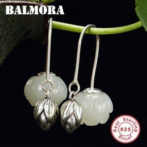 Kadınlar Bijoux Takı Brincos JWE1061 için Balmora 925 Gümüş Güzel Lotus Flower Kalsedon Dangle Damla Küpe