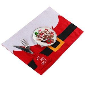 Рождественского стол Mat Сант Belt Рождество Таблица Dish Чаша еда Placemat с Ножевым Holder Xmas Dinner Decor