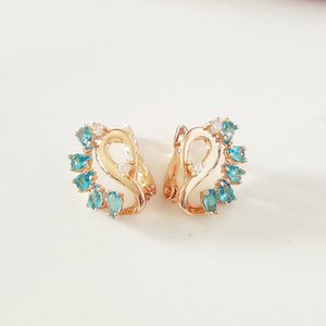 Korean Earrings Korean Jewelry Bijouterie Women Jewelry Earring Flower Shape Light Blue Zircon Drop Earrings