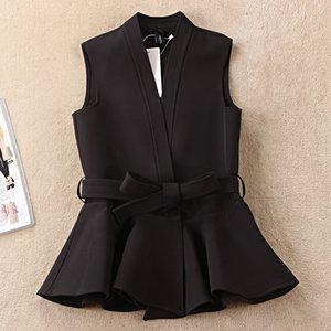 Casual Nevettle Negro cinturón de las mujeres del chaleco de primavera Colete Femme T200820