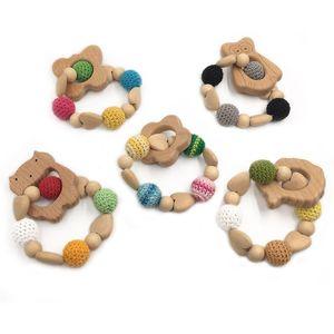 Bricolage bébé Teething Molar bois de hêtre naturel des animaux non toxiques Crochet fil Perle d'Eagle Robot de papillon de chat Nuages Poulpe Bracelet Jouets 2020
