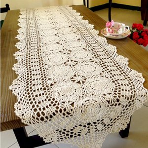 Pa.an Crochet Table Runner Handmade Handicrafts Classic Lace Tablecloth Beige White Table Cover Dropshipping 2019 Decor Gifts Y200421