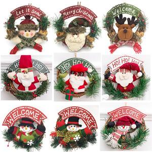 Décoration de Noël en bois Couronne Tenture Porte de Noël Père Noël bonhomme de neige Elk Décor Garland Ornements Pendentif de Noël