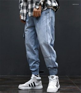 Tasche Hiphop allentati Light Blue Jeans Uomo Moda a lungo Mens Cargo Pants Con