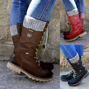 2020 Зимняя обувь Женщины Сапоги Basic Mid-теленок сапоги Круглый Toe Zip Платформа Decor Женская обувь Теплый Узелок сапоги обувь