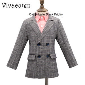 New Spring Autumn Brand Children Coat for Boys Double-breasted Jacket Fashion Baby Boys Formal Plaid Blazer Toddlers Clothes