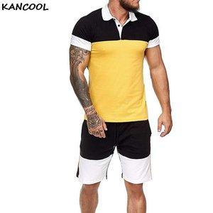Homens Suor fato de duas peças homens roupas de verão de manga curta Summer Set agasalho Sports Wear Colorblock estabelece novo