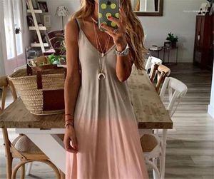 Sleeveless Long Skirt Designer Women Gradient Dress Printed Suspenders Deep V Neck Tie Dye Dress Female Loose Casual