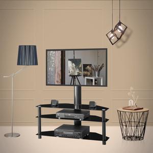 Черный Мульти-функция угла, регулируемая по высоте закаленного стекла Подставка для телевизора LCD TV кронштейн Плазменный кронштейн трех слоев стекла полки W24104949