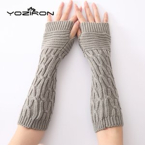 YOZIRON Fashion Women Winter Fingerless Gloves Adult Solid Knitted Arm Warmer Elbow Fingerless Mittens One Size