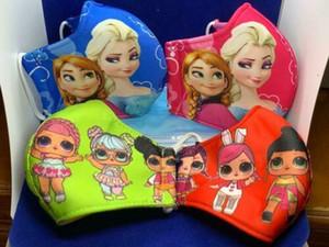 Упаковка 2 шт Kids Face Mask моющийся многоразовые, девушки Lol / Замороженные 7-12