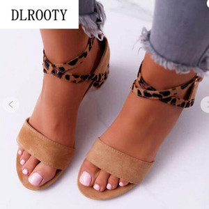 Sandals Woman Shoes Summer Pumps High Heels Thick Peep Toe Buckle Strap Leopard Fashion Hollow Gladiator Plus Size 35-43