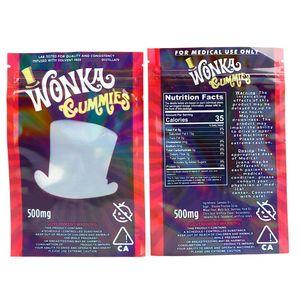 Kuru ot Tütün Çiçek Resellable için stok Şimdi Wonka gummies Mylar Bag 500mg Edibles Fermuar Kılıfı Smeproof Depolama Perakende Çanta In