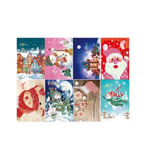 Feliz Natal Handmade Cartões DIY diamante Pintura Broca Cartões Rodada Saudação Pedrinhas Bordados Artes Ofícios presente
