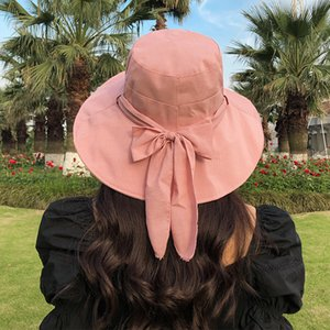 Spring and summer new Korean striped bow fisherman hat leisure wild big eaves outdoor shade basin hat women