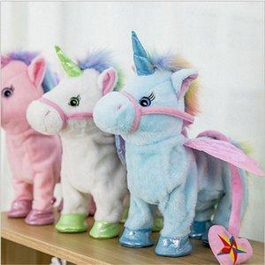 New elétrica Unicorn Plush Doll Toys Electronic Music Walking Cantando Presentes Halloween Natal das crianças do aniversário Toy Crianças Ano Novo HH wFdg #
