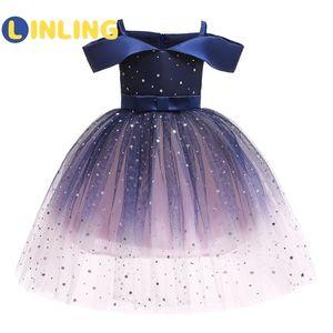 Omuz Prenses Giydirme Balo Elbise P220 0922 Kapalı linling Kız Elbise 2020 Yaz Yeni Çocuk Giyim