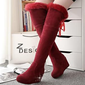 Zapatos SWYIVY cuña botas de nieve piel de la mujer del algodón del invierno acolchado Botas sobre la rodilla 2020 femeninas Rhinestone nieve Womans