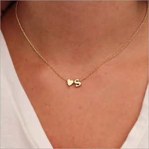 Choker Girl Dainty Jewelry Wonmen Pendant Chain Charms Zircon Collier Necklaces Accessory Alphabet Stainless Letters Gift Heart