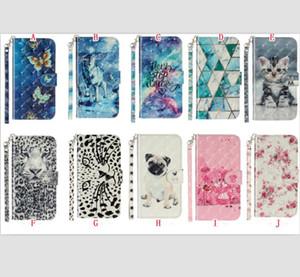 3D Cartoon-Mappen-Leder-Kasten für Huawei P40 LITE E P30 PRO Y5P Y6P Y8P P Smart-2020 Mate-30-Bügel-Blumen-Tiger-Katze Schlag-Standplatz-Telefon-Abdeckung