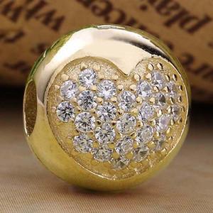 Couleur or originale Pave Crystal Love Coeur clip de verrouillage Stopper Perles Fit argent 925 Charm Bracelet Marque bricolage Bijoux