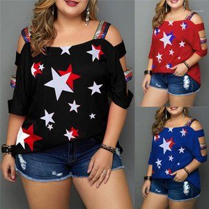 Casaul Slash Neck Paillettes star imprimé Tops Taille Plus Vêtements pour femmes en vrac d'été Designer pour femmes T-shirts