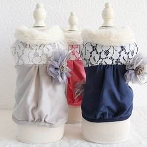 Winter Newest Cotton Coat for Dogs Three Colors Xs-xl Sizes Pet Clothes with Lace Design and Warm Collar Clothes for Pet Dog