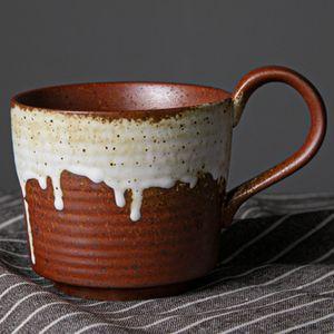 Antique Water Mug With Saucer Set Retro Afternoon Tea Coffee Mug Vintage Coarse Pottery Coffee Cup Creative Home Decor