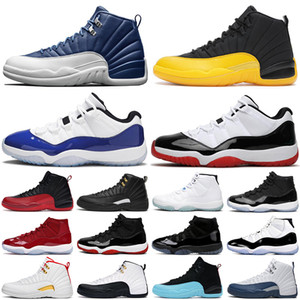 nike air jordan retro 12 11 basketball shoes Hommes chaussures de basket-ball 12s Indigo University or gris foncé jeu de grippe Taxi jumpman 11s Concord Bred hommes femmes baskets