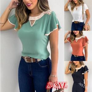 Zarif Kelebek Kısa Kollu bluz gömlek Kadınlar Yaz O Boyun Katı fırfır Casual Hollow Out Gevşek Kazak blusa S-5XL Tops