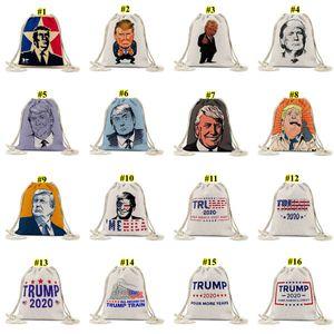 Trump dibuja la bolsa de cuerda Las elecciones presidenciales de EE. UU. Trump Patrón Impreso Patrón de compras Mochila al aire libre Drawstring Pocket Dwe641