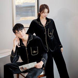 Casal de luxo Pijamas Set Outono Inverno Couple Pajamas ouro Velvet Mulheres Homens Pijamas macio morno Sleepwears Plus Size Pijamas