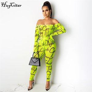 Hugcitar 2020 cartas reducir el cuello de malla transparente leggins mono atractivo 2 piezas conjunto de otoño invierno de las mujeres streetwear chándal