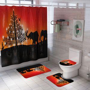 Pedestal Rug Lid Toilet Cover Mat Bath Mat Set Bathroom Curtains with Hooks Cartoon silhouette Printed Pattern Shower Curtain