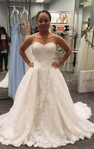 Customized Strapless Lace Wedding Dresses with Overskirt Sweetheart Neck Sweep Train Plus Size A Line Birdal Gowns Robes De Mariee