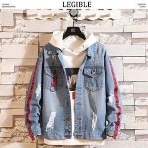 LEGIBLE Designer Ribbon Jean Jacket Men Side Striped Frayed Denim Coats Male Hip Hop Autumn Winter Windbreaker