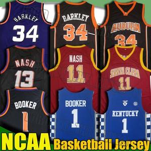 NCAA Стив Нэш 11 Санта-Клара университета Auburn Чарльз Баркли 34 Джерси Девин 1 Джерси Букер Колледж Баскетбол Аллен Трикотажные 8-30