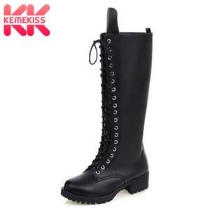 KemeKiss New Designer Damen-Platz niedrige Ferse Reitmotorrad Heel kniehohe Stiefel Punk Gothic Plateau Lace Up Schuhe size34-43