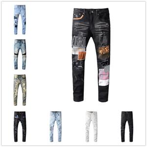 2020 Yüksek kaliteli Erkek kot Sıkıntılı Motosiklet bisikletçinin kot İnce Ripped delik şerit Ünlü Marka Denim pantolon Hip Hop kot AZ