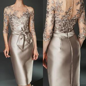 Gelin Modelleri Diz Uzunluk Dantel Aplike Damat Anne Elbise İçin Arapça Of Şampanya Saten Kılıf Anne Abiye elbiseler de soiree