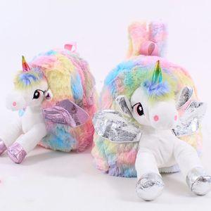 Baby Girl Unicorn Fur Backpack bonito Crianças Zipper Schoolbag Mini Kid Toy Boneca mochila para kidergarten New Plush Bag LJ200923