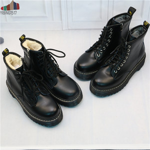 NAUSK Women Flat Platform Ankle Boots Spring Boot Black Lace Up Black Medium Creepers Shoes Fashion Party Footwear 200921
