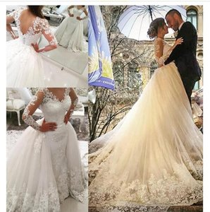 New Saudi Arabic Over Skirt Wedding Dresses V-neck Lace Appliques Backless Long Sleeves Elegant Bridal Gowns with Removable Skirt
