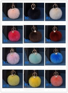 Multi Color Rabbit Fur Ball Keychain Bag Plush Car Key Holder Pendant Key Chain Rings For Women New Fashion Jewelry